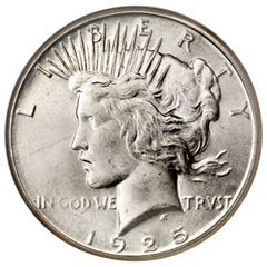 1925 S Peace Silver Dollar Coin