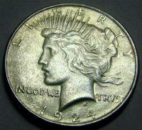 1924 peace silver dollar coin